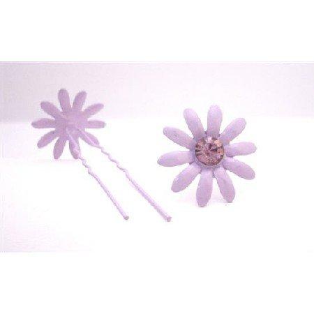 HA551  Amethyst Flower Prom Hair Pin With Amethyst Crystals Wedding Hair Pin