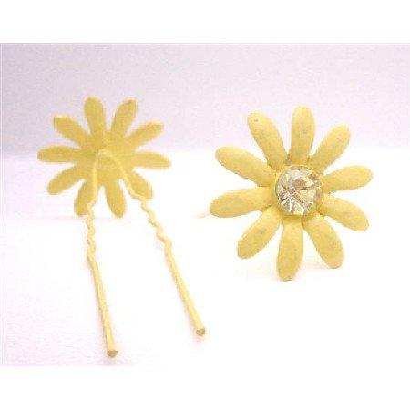 HA549  Metal Hair Pin Yellow Flower Hair Pin W/ Matching Crystals