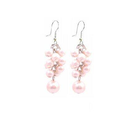 UER403  Dance Jewelry Pink Pearls Earrings Grape Bunch Pearls Earrings