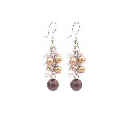 UER404  Multicolor Pearls Dangling Earrings Gorgeous Pearls Earrings