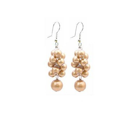 UER405 Bridemaids Wedding Jewelry Golden Grape Pearls Earrings
