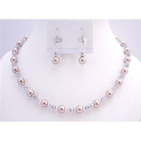 NS791  Cheap Jewelry Affordable Prom Jewelry Champagne Pearls & AB Chinese Crystals Set