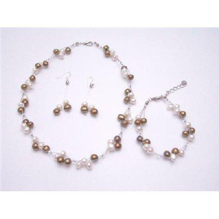 NS815 Silky Beautiful Jewelry Freshwater Pearls Bronze & Ivory Potato Shaped Complete Set