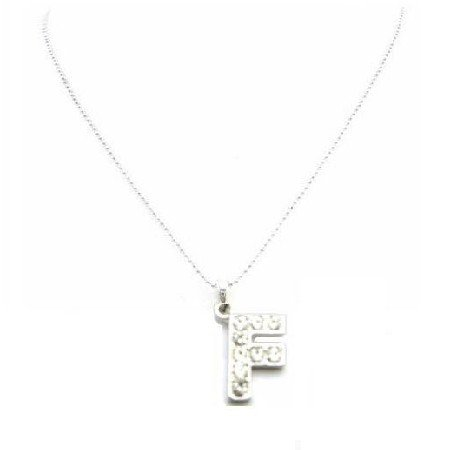 UNE263  Have Your Name Pendant Alphabet F Diamante Fully Embedded Necklace