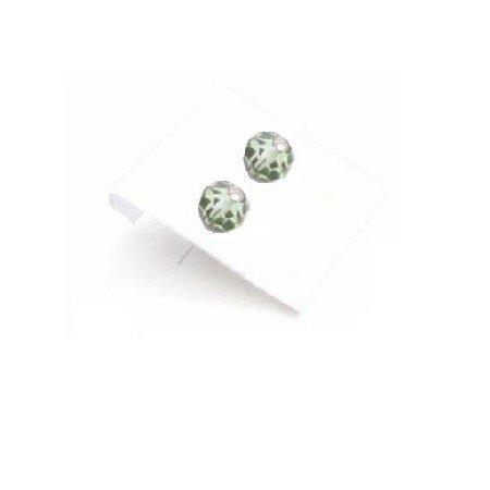 GC182  Emerald Stud Earrings Girls Crystals Stud Earrings