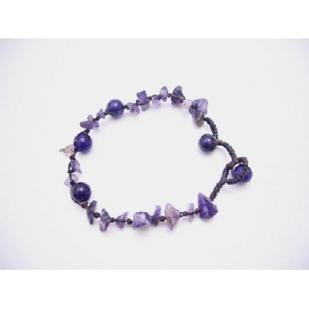 UBR215  Interwoven Cord Bracelet Jewelry Amethyst Nugget Stone Chips Adjustable Bracelet