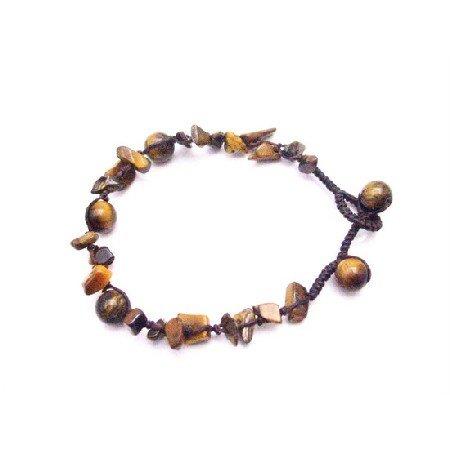 UBR219  Tiger Eye Stone Nugget Interwoven Bracelet With Tiger Eye Beads