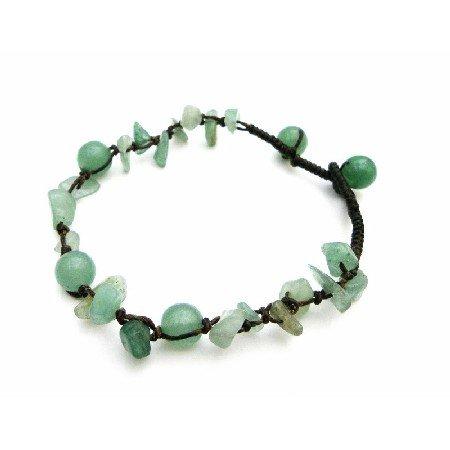 UBR225 Bracelet Jade Green Stone Nugget Interwoven Bracelet & Jade Green Beads