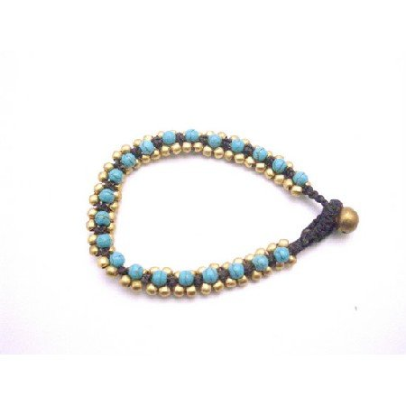 TB944 Golden Beads Bracelet Accented Cord Wax Adjustable With Turquoise Stone Embedded