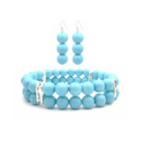 TB948  Fantastic Jewelry Bracelet & Earrings In Pool Blue Pearls New COlor Pool Blue Jewelry