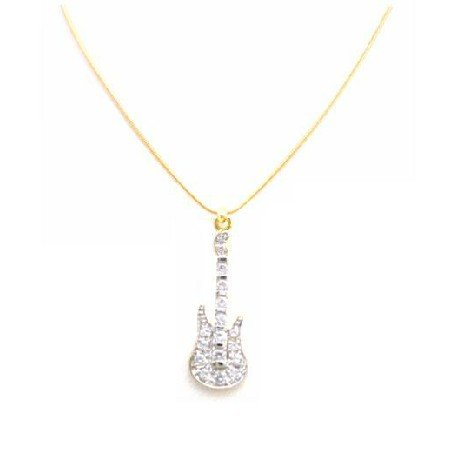 N841  Diamond Guitar Pendant Fully Embedded Accent Micron Gold Confettin Guitar Pendant