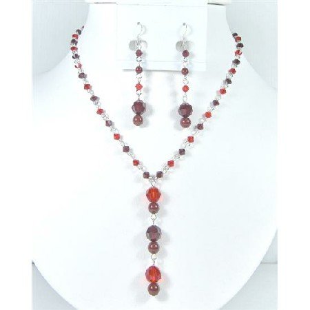 BRD029  Christmas Gift Wedding Crystals Siam Red & Garnet Handcrafted Jewelry Set