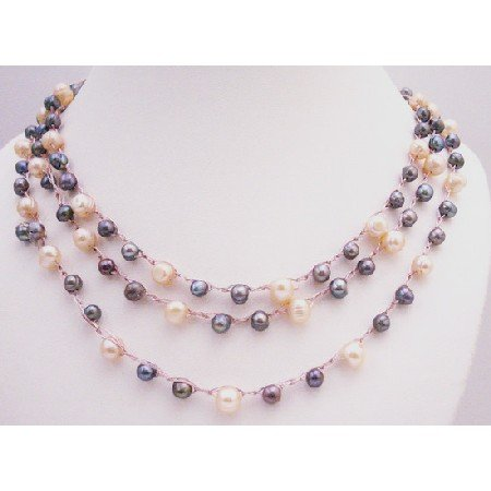 N856  Peach Grey Natural Freshwater Pearls Long Necklace In Pink Silk String Necklace