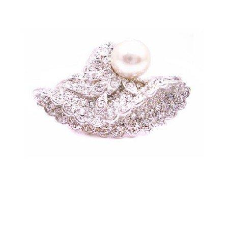 B431  Victorian Cap Brooch Fully Embedded w/ Crystals & Confetti Pearls