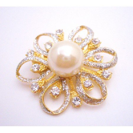 B421  Gold Flower Brooch Fully Embedded With Diamante & Ivory Pearls At Center
