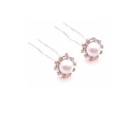 HA574  White Pearls Hair Pin Bridal Hair Accessories Wedding Hair Pins Only