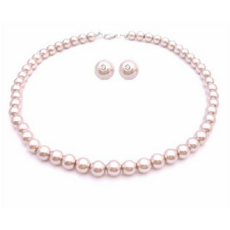 NS838  Bridal Shower Gifts Pearls Jewelry Champagne Pearls Necklace Set