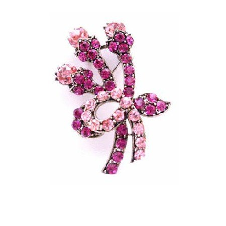 B453  A Flare for your Flair Fuschia & Rose Crystals Swirling Brooch Pendant