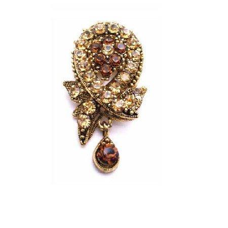 B448  Smoked Topaz Colorado Crystals Filigree Vintage Brooch Antique Gold Brooch
