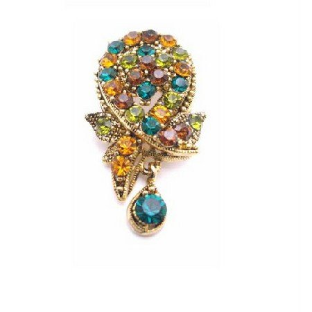 B447  Multicolored Crystals Brooch & Pendant Dangling Brooch