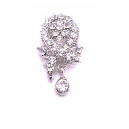 B446  Brooch & Pendant Crystals Glittering Dangling Brooch