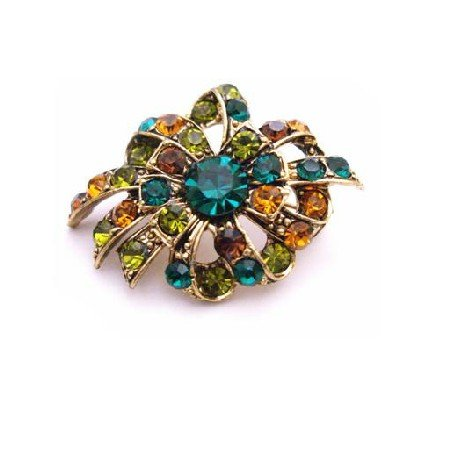 B444  Multicolored Brooch Emerald Olivine Topaz Crystals Antique Gold Brooch