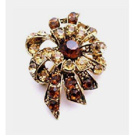 B445 Artistically Designed Vintage Brooch W/ Smoked Topaz & Colorado Crystals Brooch