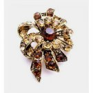 B445 Artistically Designed Vintage Brooch W/ Smoked Topaz & Colorado Crystals Brooch