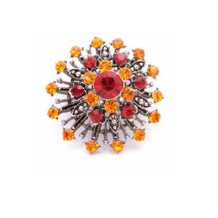 B443  SUNSET Vintage Brooch With Orange and Lite Siam Crystals Oxidized Metal Brooch