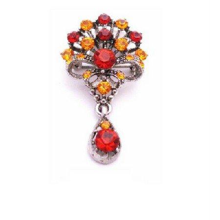 B442 Bouquet Of Flowers w/Dangling Teardrop Brooch Orange Siam Red Crystals Oxidized Metal Brooch