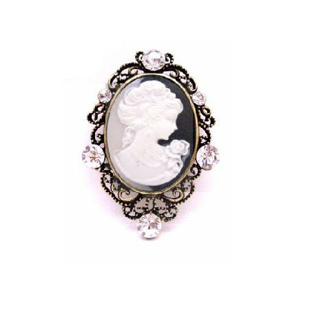 B460  Buy Her Gift On Her Special Mother Day Cameo Brooch With Clear Crystals