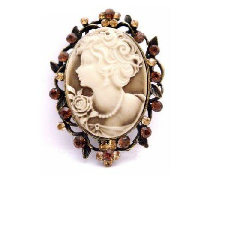 B459  Heiress Filigree Crystals Cameo Brooch For Mothers On Their Day