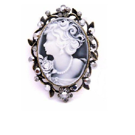 B458  Hermitite Crystals Cameo Brooch Pendant Mothers Day Exquisite Ornate Gift