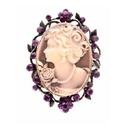 B457  Mothers Day Gift Beautiful Cameo Brooch Pendant Timeless Amethyst Crystals