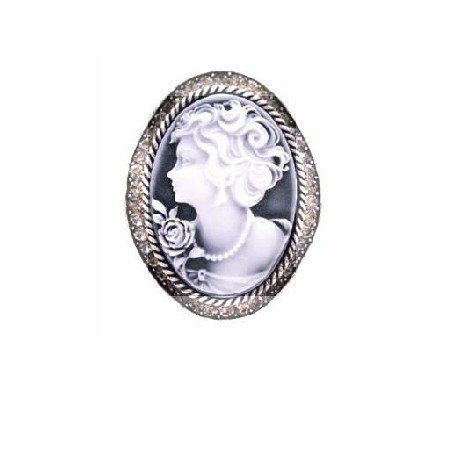 B456  Vintage Cameo Brooch Oxidized With Black Diamond Crystals Mothers Day Gift