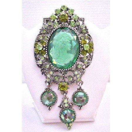 B373  Oxidized Framed Olivine Lady Cameo Brooch Sparkling Peridot Crystals