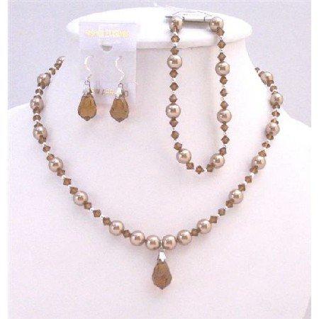 BRD031  Prom Bronze Dress Teardrop Bronze Pearls & Swarovski Brown Jewelry Set