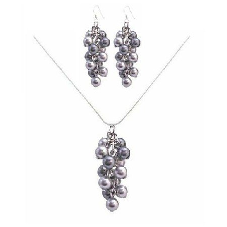 BRD037  Handcrafted The Cute For The Prom Pearls Jewelry Lite & Dark Gray Pearls Set