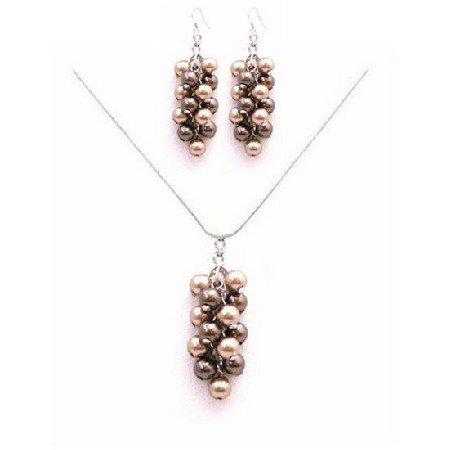 BRD038  The Perfect Prom Jewelry Brown & Bronze Pearls Swarovski Pearls Necklace Set