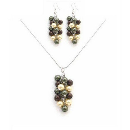 BRD039  Prom Jewelry Cheap Prom Necklace Set In Multicolored Pearls Set