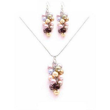 BRD040  Sparkle & Shine With Beautiful Prom Jewelry Swarovski Multicolored Pearls Set