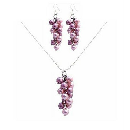 BRD041  Finest Handcrafted Bridemaids Jewelry Rose Pearls Necklace Set