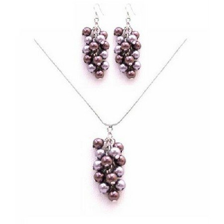 BRD042  Celebrity Jewelry Costume & Fashion Jewelry Lavender & Purple Pearls Jewelry