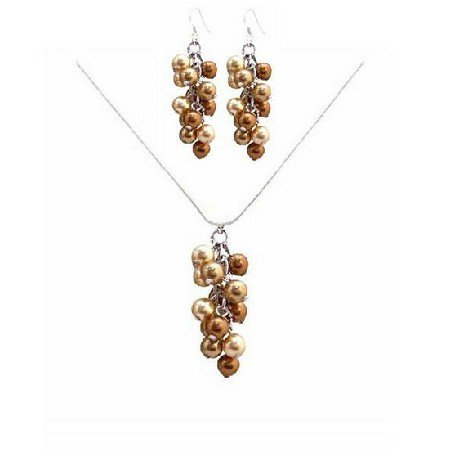 BRD043  Unbeaten Prices For Wedding Jewelry Gold & Copper Pearls Jewelry