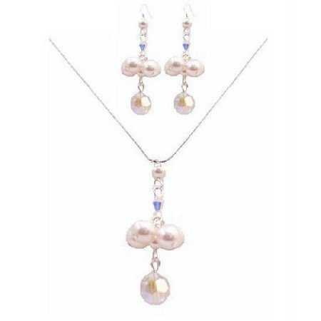 BRD044  Special Designs For Bridesmaids Jewelry In AB Crystals & White Pearls Set