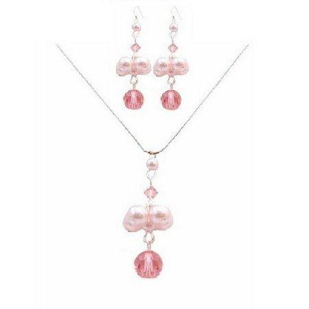 BRD045  Make Me Handmade Jewelry Swarovski Rose Crystals Pink Pearls Necklace Set