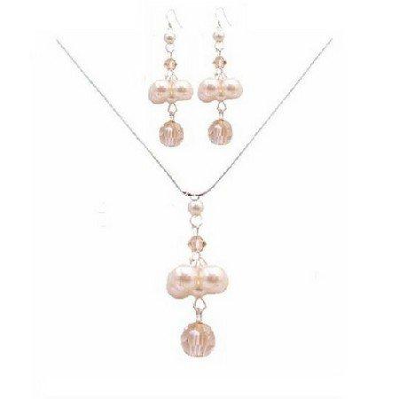 BRD046  Excitement Creativity Wedding Jewelry Golden Shadow Crystals & Ivory Pearls Set
