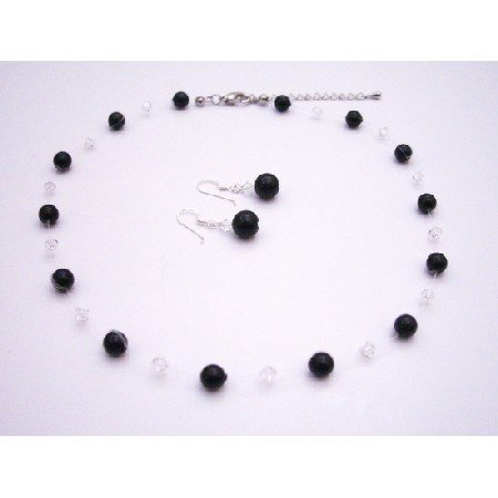 BRD048  Latest Fashion Jewelry Black Pearls & Clear Crystals Bridesmaids Gifts
