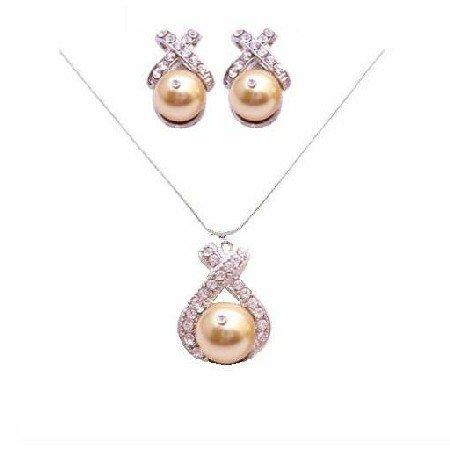 BRD059  Spectacular Necklace Set In Harvest Gold Genuine Swarovski Harvest Gold Pearls Set