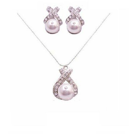 BRD060  White Pearls Bridal Party Jewelry Spectacular Necklace Set